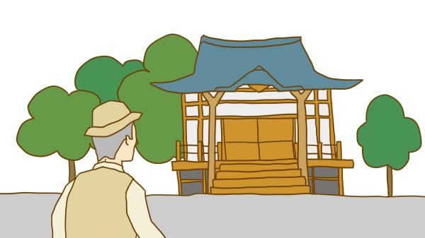 墓じまいー寺のイラスト