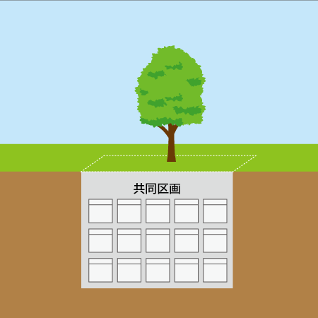 合葬型樹木葬のイラスト
